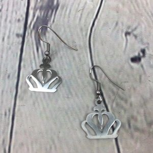 Crowned Shaped Stainless Steel Dangle Earrings
